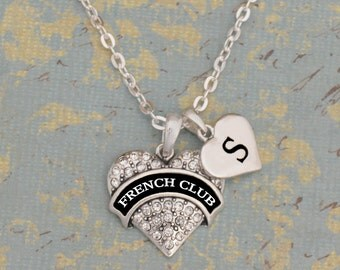 Custom Initial French Club Heart Necklace