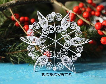 Single snowflake from set VAIL - Paper quilled ornament - Christmas decoration - Handmade gift