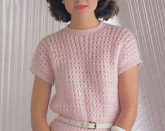 PDF vintage knitting pattern lacy look short sleeve top sweater pdf INSTANT download pattern only