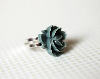 Darkish Green Flower Adjustable Ring