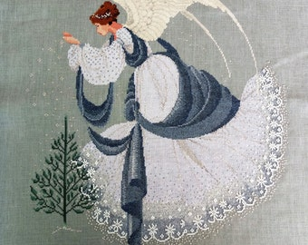 "MASTERPIECE Handmade ""Christmas Fairy"" Embroidery Art - DMC, Metallic Threads and Glass beads"