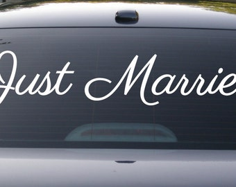 Just Married Decal, Just Married Sticker, Car Decal, Wedding Decal, Wedding Wall Decal, Just Married Sign, Wedding, Truck Decal, Vinyl Decal