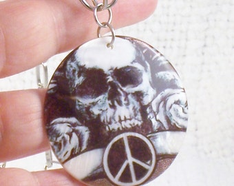 Vintage Big Skull with Roses and Peace Sign Necklace on Mother of Pearl Halloween Necklace Goth Necklace Skull Necklace Peace Sign Necklace