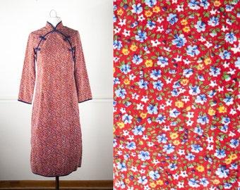1960s Cheongsam Dress, Red Velvet Dress, Vintage 60s Dress, 60s Mod Shift Dress, Floral Print Dress, Asian Dress, Red Dress, Wiggle Dress