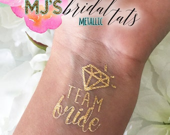 METALLIC Gold Team BRIDE Waterproof Temporary Tattoo for Bridal Party Bachelorette Bridesmaid Maid of Honor Bride Wedding Fun Chic & Cool