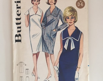 Butterick 3102 1960s Sewing Pattern / Shift Dress with Sailor Collar / Size 10 Bust 31""