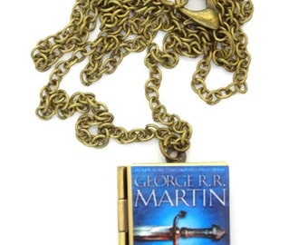 Game of Thrones book locket, George R R Martin, Necklace