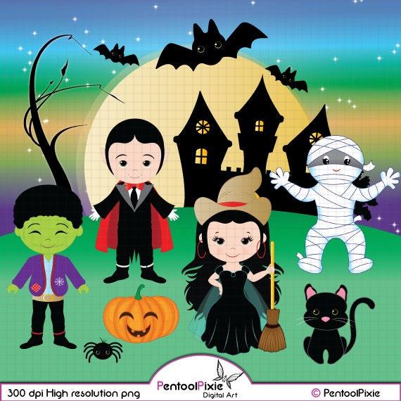 Halloween clipart Cute Ghost Vampire Dracula Cute Witch