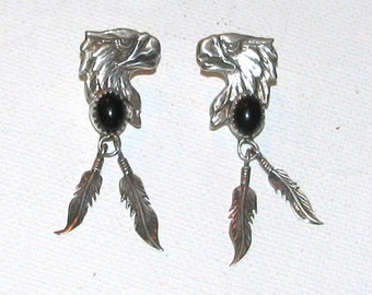 28. Beautiful Hand Crafted Native American Indian Black Onyx + Sterling Silver Eagle Head + Feather Earrings