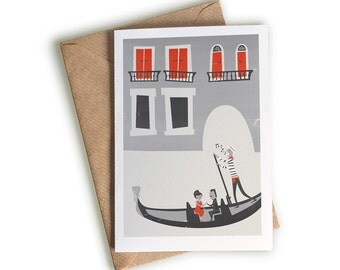 Valentines Day Card, Venice Gondola Notecard, Girlfriend Card, Blank Greeting, Travel Gift, Anniversary Gift, Honeymoon Card, Wanderlust