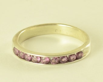 Pink Tourmaline Eternity sterling silver ring!