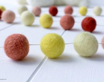 Wool Felt Ball Garland. Peach Yellow Pom Pom Garland. Girls Room Decor. Nursery Bunting. Birthday Party Garland. Nursery Decor. Peach Coral