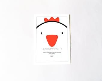 Customizable chicken birthday party invitation, chicken party, writable file .doc, children invitation DIY, digital file instant download