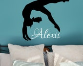 Gymnastics Girl with Name Wall Decal, Personalized Gymnastics Decal, FREE SHIP, Gymnastics Wall Decal, Gymnastics Wall Art, Gift for Gymnast