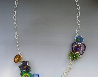 Octopus' Garden Necklace: handmade glass lampwork beads with sterling silver components
