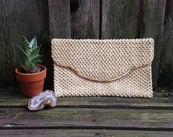 60s Cream & Gold Woven Clutch with Snap Closure  |  Minimal Hipster Eco Boho
