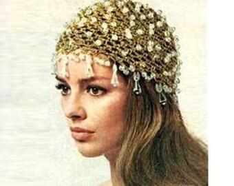 Crochet HAT Pattern Vintage 70s Crochet Mesh Cap Pattern Crochet Wedding Hat 70s Bridal Veil Pattern Glow Sparkle Hat