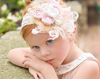 Princess Eva Headband - Baby Headbands - Vintage Inspired Headband - Girl Headband - Flower Girl Headband - Special Occasion Headband
