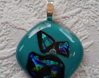 Teal Fused Glass Pendant with Dichroic Accents
