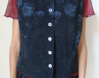 SALE // bohemian black floral vest / boho chic / romantic / 90s / 80s / classic / grunge / hippie / indie