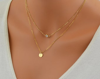 Tiny Initial Disc Necklace, Layered Gold Necklace, Cz Necklace Gold, Layering Personalized Necklace, Dainty Initial Necklace, Necklace Set