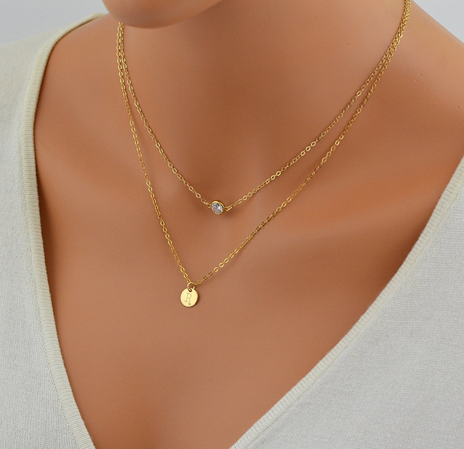tiny initial disc necklace layered gold necklace cz necklace. Black Bedroom Furniture Sets. Home Design Ideas
