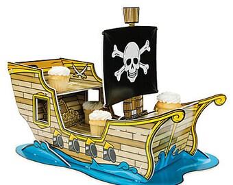 1/Pirate Ship Cupcake Holder/ Centerpiece/ Party decoration.