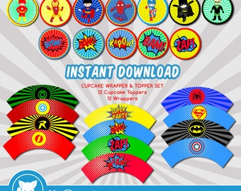 Superhero Cupcake Toppers and Wrappers | Cupcake Toppers | Superhero Party - JPG Digital File, INSTANT DOWNLOAD