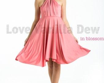 Bridesmaid Dress Infinity Dress Blossom Pink Knee Length Wrap Convertible Dress Wedding Dress