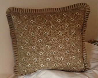 Brown and Beige Monkey Pillow Covers Grosgrain Trim