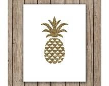 Gold Pineapple Design printable wall art instant download, Print Wall Art, Bedroom, Nursery Art, Cricut, Silhouette, SVG, DXF