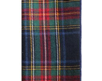 Navy Blue Traditional Plaid Wool Pocket Square