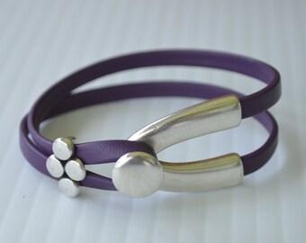 Purple Leather Silver Wishbone Bracelet