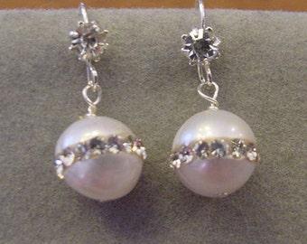 Freshwater Pearl Inlaid Rhinestones Earrings FRESHWATER PEARL Earrings Rhinestone Earring Wires  Bridal jewelry