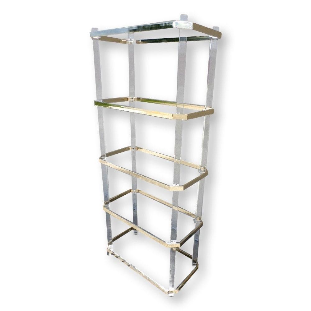 Vintage 1970s lucite acrylic and brass etagere glass shelves shelving unit bo - Etagere plexiglas design ...