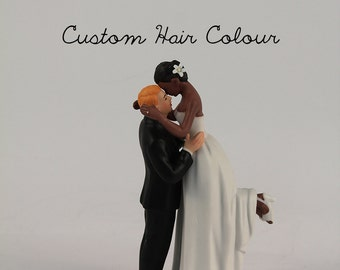 True Romance Interlocking Wedding Cake Toppers - Light Skin Tone Groom and Dark Skin Tone Bride - Personalized Wedding Cake Toppers - Custom