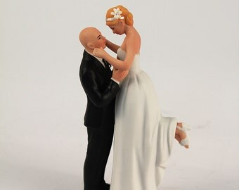 True Romance Interlocking Wedding Cake Topper - Bald Groom Wedding Cake Topper - Groom Lifting Bride - True Love - Personalized - Custom