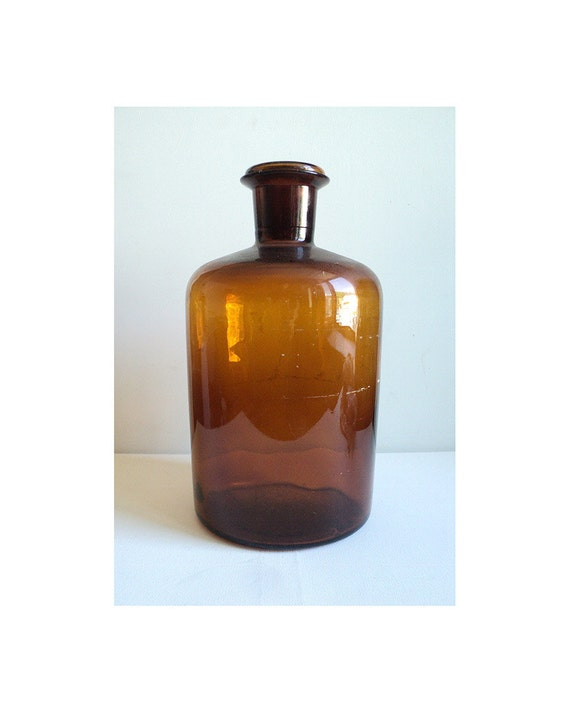 French oversize apothecary amber brown glass by for Brown glass bathroom accessories