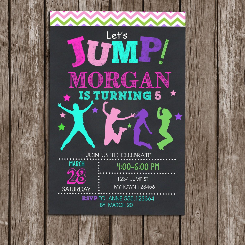 Jump Invitation Girls Birthday Printable Trampoline