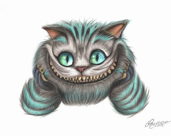 Quality Art Print Portrait of Tim Burton's, 'The Cheshire Cat'. Printed on Acid Free, 'Canson' Watercolour Paper by Artist, Layce.