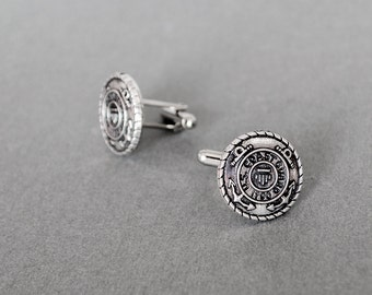 Coast Guard Cufflinks Men's Cufflinks Military Cufflinks Support our Troops Cufflinks Antique Silver Gifts for Him Men's Gifts Wedding Gifts
