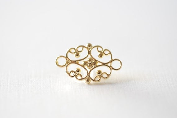 Vermeil Gold Flower Spacer, Connector and Link, Chandelier ...