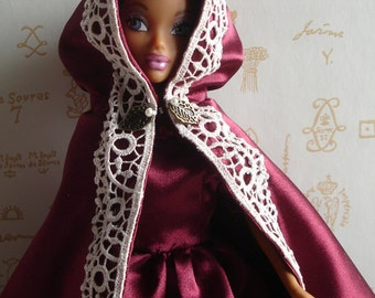 Cape Venetian and satin duchess ball gown burgundy for Barbie dolls and similar