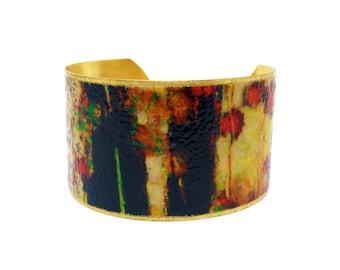 50% OFF SALE JEWELRY - Brass Cuff Bracelet - Wearable Art Jewelry - Brass Statement Bracelet - Elegant Bracelet - R8-015