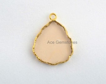 Handmade Champagne Quartz Slice Gemstone Bezel Station Micron Gold Plated Sterling Silver Bezel Connector and Charm, 1 piece