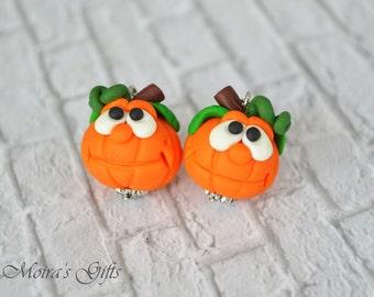 Happy Halloween pumpkins - Polymer clay jewelry - Fall jewelry trends - Autumn dangling earrings - Cute Haloween earrings - Fall gift ideas