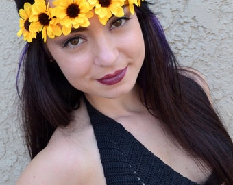 Elastic Daisy Headband - Flower Headband - Yellow Daisies - Hairband - Hair Accessories - Festival Headband - Hippie Headband
