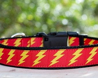 Lightning Bolt Dog Collar / Yellow Dog Collar / Australian Made  / Woven Dog Collar /