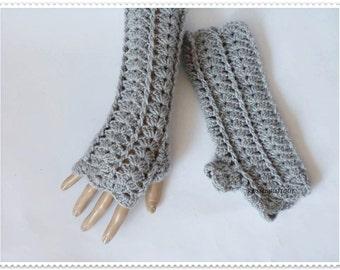 Crochet gloves Crochet fingerless gloves Gray gloves Gray crochet gloves Lace gloves Fingerless mittens Teen gloves Wist warmers