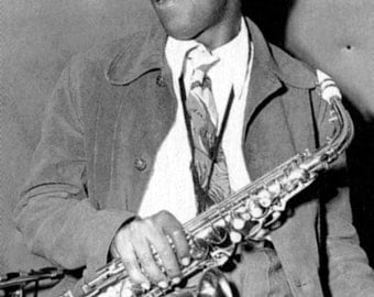 Charlie Parker Poster, Bird, Smiling with his Saxophone, Jazz Music Icon